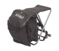 Черный складной стульчик для рыбалки с рюкзаком позади, размеры 56х34х37см